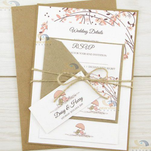 Mẫu in phong bì cưới đơn giản, chất liệu thân thiện với môi trường