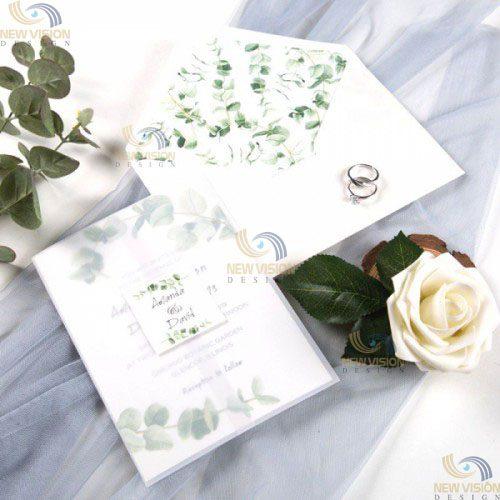 Phong bì đám cưới trang nhã với gam màu hoa cỏ